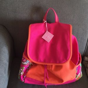 New Vera canvas backpack in pink swirls 💗